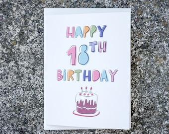 Happy 18st Birthday Greeting Card/Birthday Cake Card/Cute Card/Friends Card/Friendship Card/Boyfriend Girlfriend Card/Bestfriend/Eighteen
