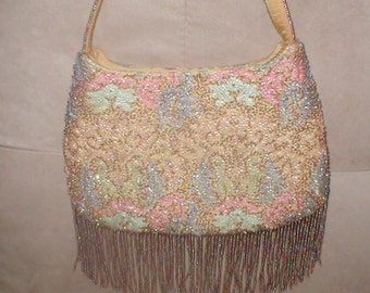 Vintage Pastels & Topaz Beaded Evening Purse