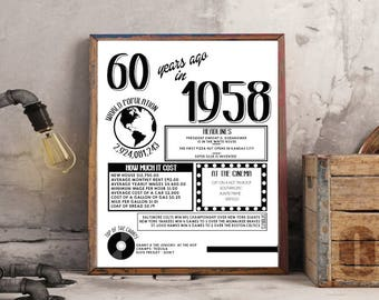 Printable Birthday Facts ~ 1958 fun facts etsy