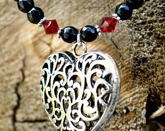 Big Heart Necklace with Onyx and Genuine Siam Red Swarovski Crystals