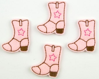 COWGIRL BOOTS - Embroidered Felt Embellishments / Appliques - Pink & Brown  (Qnty of 4) SCF0120