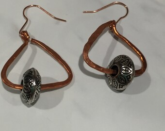 Copper earrings with silver bead