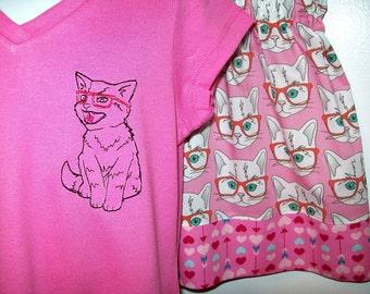 Purr-fect Smart Kitten Outfit - Embroidered Kitten T-shirt and Pink elastic waist skirt