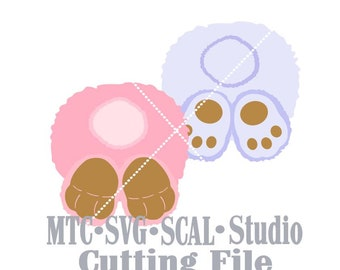 SVG Cut File Bunny Behind Card Scrapbook Embellishment MTC Silhouette Cricut SCAL Cutting File