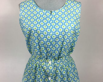 Vintage 1960's Blue White Green Daisy Print Sleeveless Romper Playsuit 2-piece set with Matching Skirt by Princess Peggy