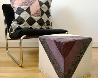 Leather Footstool|Quilted Leather Pouf Pouffe in GreyLavenderCream|Ottoman|Eco Friendly Cube Furniture|Handmade Footstool|Housewarming Gift
