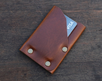 Front Pocket Handmade Leather Wallet, Minimalist Slim Credit Card Holder, Gifts for Men, Top Grain Leather, Small Card Holder, Made in USA