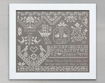 Elizabeth Gee: A Quaker Sampler - Original Cross-Stitch Embroidery Pattern, Instant Download PDF booklet