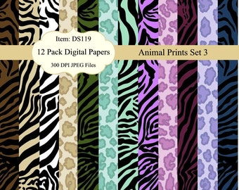 Instant Download - Animal Prints Digital Background Papers for Scrapbooking, Card Making and more DS119