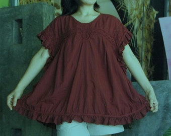 Close To You...Cotton Lace Square shaped Ruffle Trim Hand Dyed Dark Red Cotton Blouse