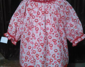 Valentine's Day Toddler Girls Peasant Blouse