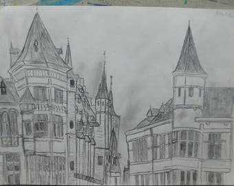 art, original pencil drawing - Belgium city