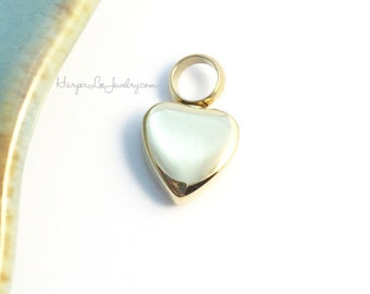 Gold Cremation - Small Urn - Petite Heart Pendant - Remembrance Jewelry - Memorial Charm - Sympathy Gift - Loss of a loved one - HLJ
