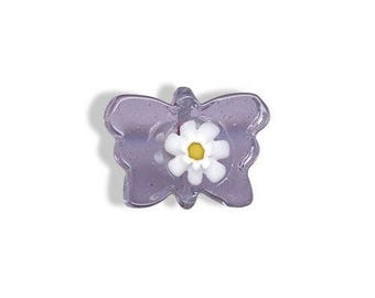 Butterfly purple murano glass bead
