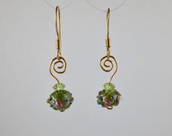 "Venetian Glass ""Cakes"" Green Earrings with Peridot on Gold"
