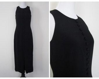 90s Black Maxi Dress Minimalist Sleeveless Button Front Vintage Long