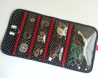 Large Travel Jewelry Organizer Roll Quilted in Black and white dot print