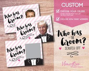 CUSTOM Who has the Groom? Scratch off Bridal Shower Game. Funny Bridal Shower Game