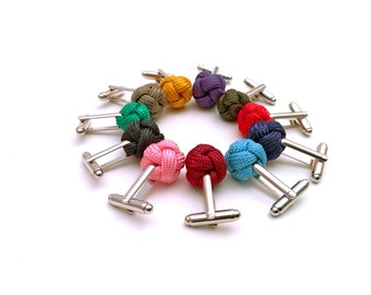 Mens cufflinks, knot cufflinks, pink cufflinks, marsala cufflinks, greenery cufflinks, aquamarine cufflinks, nautical cufflinks, mens gift.
