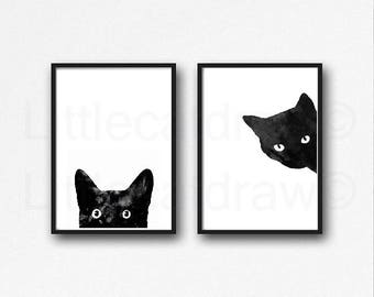 Black Cat Print Set Of 2 Watercolor Painting Print Cat Art Cat Lover Gift Cat Decor Minimalist Bedroom Wall Decor Wall Art Prints