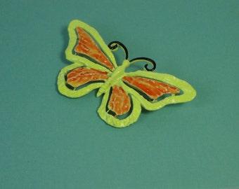 JONETTE JEWELRY Neon Yellow and Orange Enameled Butterfly Brooch. J.J Butterfly Pin
