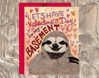 Funny Sloth Valentines Day Card