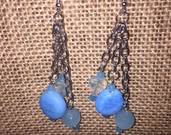 Silver Chain 3 Strands Glass Bead Baby Blue Multi Size Glass Beaded Earrings