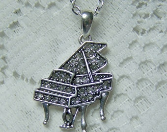 PIANO Necklace - Piano Pendant - Crystal Piano -Liberace Style - Baby Grand Piano - Music - Conductor - Orchestra - Silver plated charm