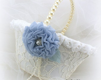 Flower Girl Basket, Ivory, Blue, Light Blue, Lace Basket, Pearl Basket, Elegant Wedding, Pearl Handle, Bridal, Lace, Crystals, Vintage Style