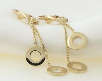 14k Yellow Gold Open Circle Leverback Dangle Earrings- for women, earrings