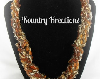 Ladder Yarn Necklace,White, Rust and Gold Ribbon Necklace, Crocheted Ribbon Necklace, Fiber Jewelry,GOLDEN Ladder Necklace (Ready to Ship)