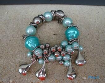 Turquoise bracelet, glass beads, elastic
