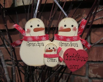 Family of 3: Personalized Grandma & Grandpa Snowmen Family Ornament, Red and White Style, Grandparent Ornament, Family Ornament Grandparent