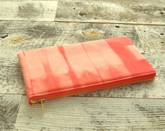 Shibori Pouch - Coral Clutch - Hand Dyed