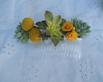 Wedding Succulent Hair Comb, Wedding hair comb