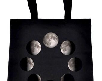 Moon Lunar Phases Tote Book Bag Handbag New Crescent Full - TB-DYS073