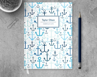 Anchor Journal for Men, Christian Notebook, Religious Journal Diary, Prayer Journal, Personalized Notebook, Christian Journal