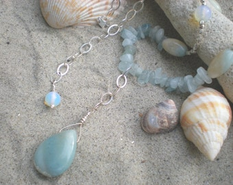 Seaside beaded necklace, amazonite, aquamarine, opalite, sterling silver, sky blue necklace, unique jewelry by Grey Girl Designs on Etsy