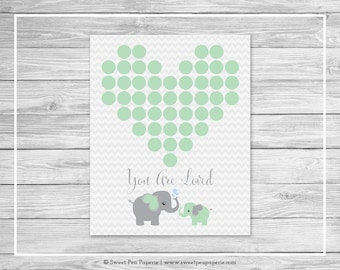 Elephant Baby Shower Guest Book - Printable Baby Shower Guest Book - Green and Gray Elephant Baby Shower - Baby Shower Guest Book - SP104