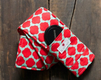 DSLR Camera Strap Cover- lens cap pocket and padding included- Red and Light Blue/ Mint