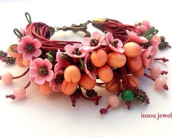 Flower Bracelet, Charm Bracelet, Red Bracelet, Wrap Bracelet, Boho Bracelet, Cotton Cord Bracelet, Spring Jewelry, Fruit Jewelry, Women Gift
