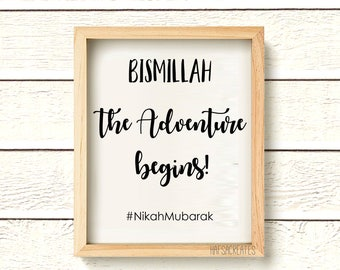 INSTANT DOWNLOAD: Nikah Mubarak. The adventure begins. Shaadi Gift. Muslim Wedding.