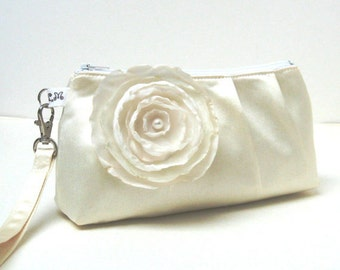 Bridal Bridesmaid Clutch Purse Rectangular Wristlet - Ivory Cream Satin with Flower Brooch