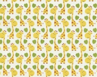 Giraffes - 1 yard Cut - Timeless Treasures - Cotton Fabric - Quilting Fabric - Yellow Fabric