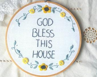 "Inspirational hoop, embroidery hoop, God bless, prayer, blessing, handmade, Mother's day gift,  home decor, handembroidered hoop, art, 8"""