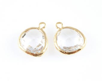 2pcs Clear Faceted Glass Charm in Gold, Framed Drop Glass Gem / Birthstone / April / Crystal / 13mm x 16mm / GCLG-004-P (Medium)