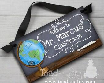 Teacher Chalkboard Classroom with World Globe DOOR SIGN Teacher End of Year Christmas Present Gift TDS008