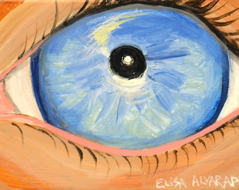 Eye painting - Miniature painting  - Miniature art - Acrylic painting - Lover's eye - Blue eye - Eyeball - Surreal -  Painting on wood - Art
