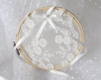 Anillo aro anillo portador rústico anillo de bodas almohada alternativa Boho boda Chic boda boda regalo anillo soporte anillo Beare custom