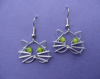 CAT EARRINGS, green eyes, wirework